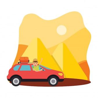 Conduire voiture voyage vacances sahara pyramide chaleur egypte personnage de dessin animé