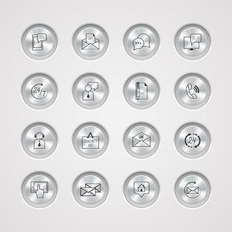 Contactez-nous des icônes de service configurées sur le contrôle des boutons métalliques de communication par téléphone électronique et illustration vectorielle représentative de personne