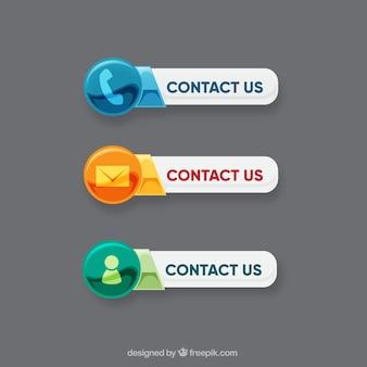 Contacts boutons avec des icônes différentes