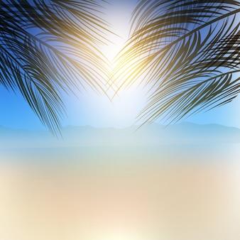 Contexte à thème d'été avec branches de palmiers