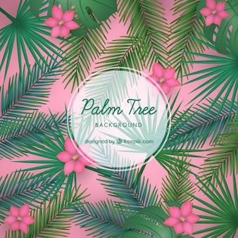 Contexte avec des feuilles de palmier et des fleurs dans un style réaliste