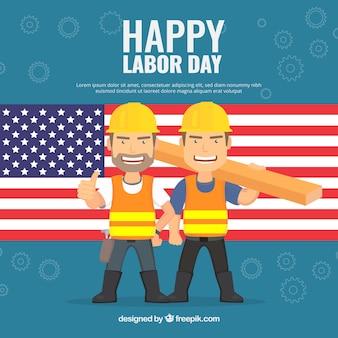 Contexte avec le drapeau américain et les travailleurs