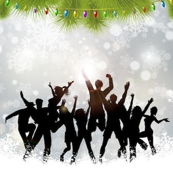 Contexte avec les gens dans la fête de Noël