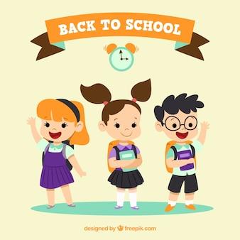 Contexte de beaux enfants prêts à l'école