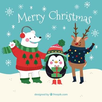 Contexte de beaux personnages de Noël