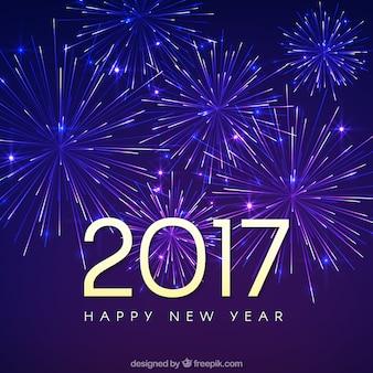 Contexte de bonne année 2017 avec des feux d'artifice
