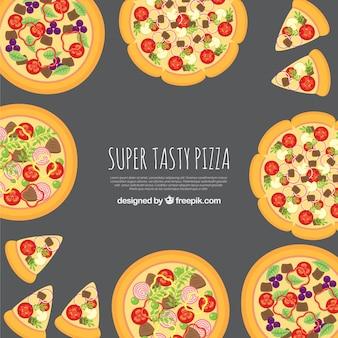 Contexte de délicieuses pizzas