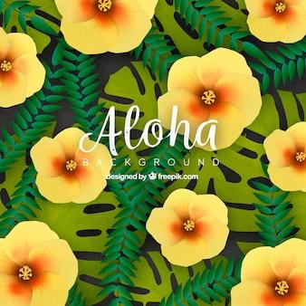 Contexte de fleurs et de feuilles tropicales