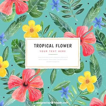 Contexte de fleurs exotiques et feuilles d'aquarelle