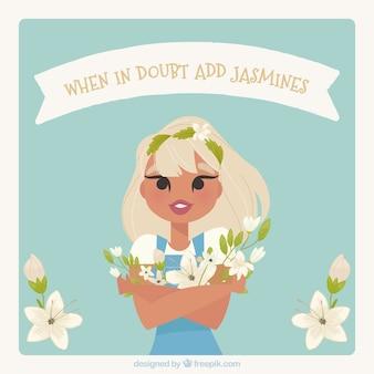 Contexte de jolie fille avec du jasmin