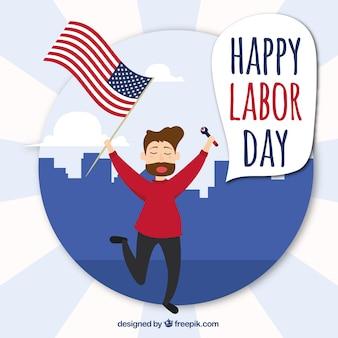 Contexte de l'homme avec le drapeau américain célébrant le jour du travail