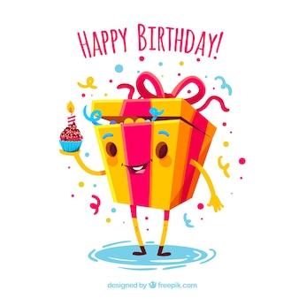 Contexte de la boîte cadeau drôle d'anniversaire