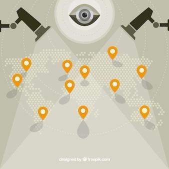 Contexte de la carte mondiale avec caméras de surveillance