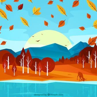 Contexte de la forêt d'automne avec des cerfs