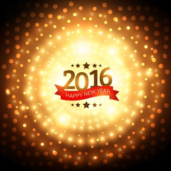 Contexte de la nouvelle année 2016 lumières dorées