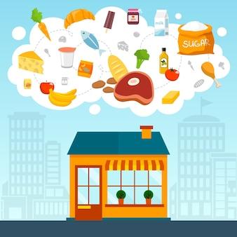 Contexte de magasin avec les denrées alimentaires
