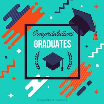 Contexte de Memphis avec un casque de graduation en conception plate