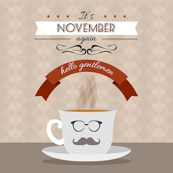 Contexte de Movember avec la conception de café