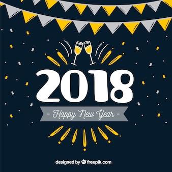 Contexte de nouvelle année avec style dessiné à la main