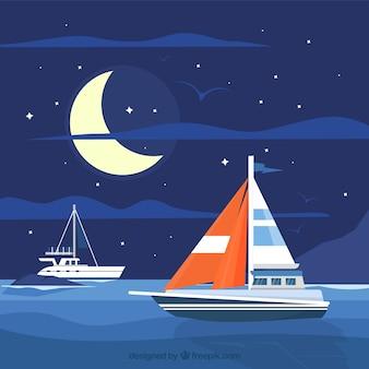 Contexte de nuit avec des bateaux dans la mer