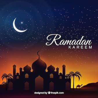 Contexte de ramadan kareem avec mosquée