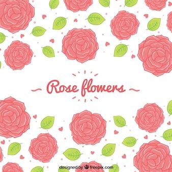 Contexte de roses et de coeurs