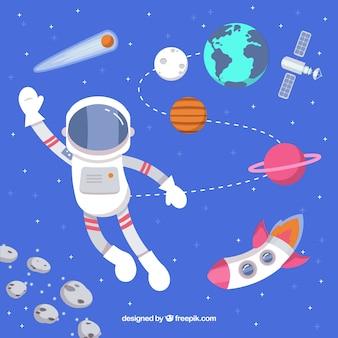 Contexte de salutation d'astronaute avec fusée et planètes