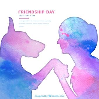 Contexte de silhouettes d'aquarelle de fille avec un chien