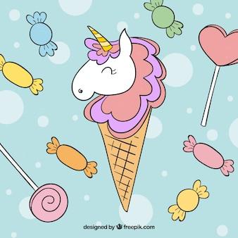 Contexte de sucreries et de crème glacée licorne