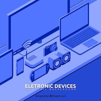 Contexte des appareils électroniques isométriques en tonalité bleue