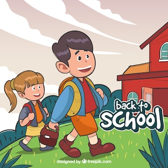Contexte des enfants tirés à la main qui vont à l'école