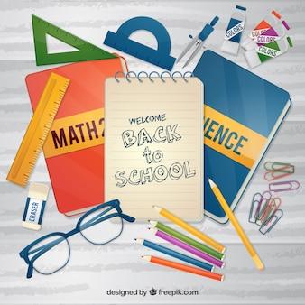 Contexte des livres et du matériel scolaire en conception plate