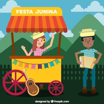 Contexte des personnes célébrant festa junina
