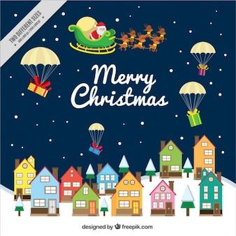 Contexte du Père Noël donne des cadeaux