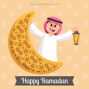 Contexte du Ramadan avec un homme souriant et une lune ornementale