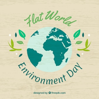 Contexte en bois avec planète plate pour le jour de l'environnement mondial