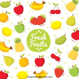Contexte fantastique avec différents types de fruits
