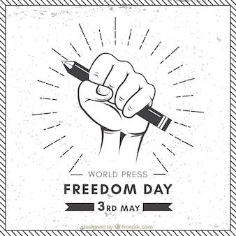 Contexte mondial de la journée de la liberté de la presse en style rétro