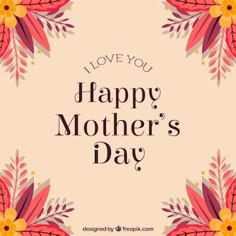 Contexte pour la fête des mères avec des fleurs dans les coins