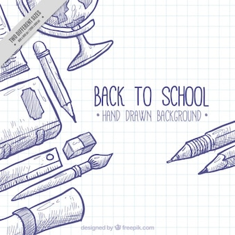 Contexte pour retourner à l'école avec des éléments dessinés à la main