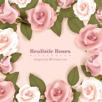 Contexte réaliste avec des roses roses