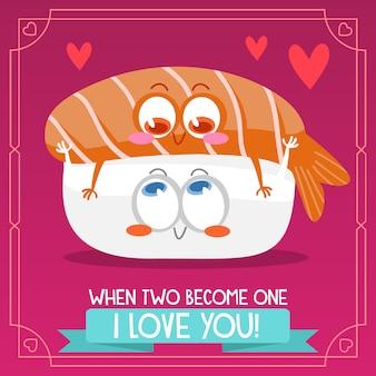 Contexte sushi avec citation amoureuse