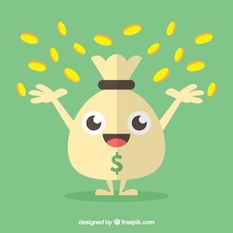 Contexte vert d'un sac d'argent heureux