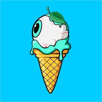 Cornet de glace avec boule d'oeil froid et feuilles de menthe