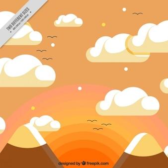 Coucher de soleil paysage avec montagnes