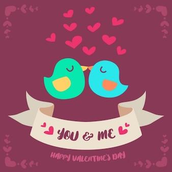 Couple d'oiseaux pour la Saint-Valentin