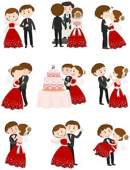 Couple de mariage dans différentes actions