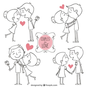 Couples dessinés à la main dans l'amour