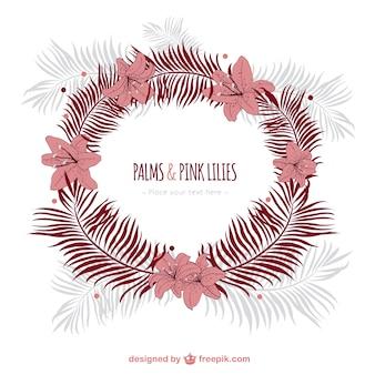 Couronne avec des palmiers et des fleurs de lys roses