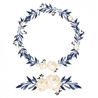 Couronne de fleurs et de design ornement